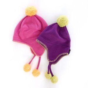 Lands End Girl's Lot of 2 Fleece Pom Winter Hats